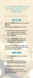 Directions for online giving.